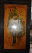 Antique Hanging Game Duck Bird Hunting Picture Oak Metal Framed