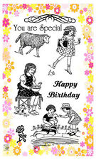 Rural kids with sheep ~ clear stamps set vintage FLONZ 193 rubber acrylic