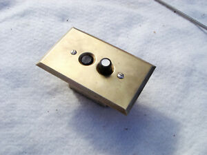 1920's ORIGINAL PUSH BUTTON  WALL SWITCH WITH BRASS FACEPLATE