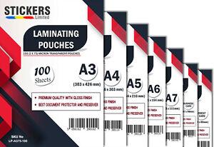 100 x Laminating Pouches - All Sizes  Premium Laminator Sheets Sleeves Pockets