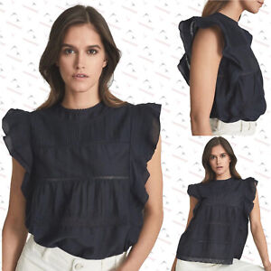 Brand New Reiss Simone Navy Lace Frill Cap Sleeveless Top Blouse RRP £145 4-14