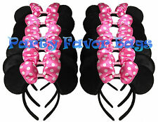 12 pcs Minnie Mouse Ears Headbands Black Pink Party Favors Birthday Gift Mickey