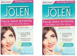 Jolen Face Wax  Strips for Upper Lip Chin & Brows Sensitive Skin