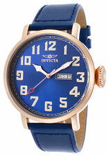 Invicta Vintage Model 18433 Men's Watch Day Date Blue Leather NEW NIB