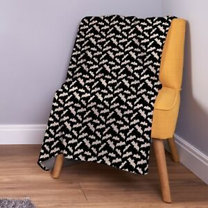 Cartoon Bats Halloween Design Soft Fleece Throw Blanket