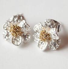 flower daisy Stud Earring earrings silver gold rhinestone floral butterfly UK