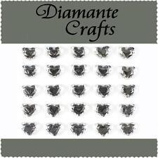 25 x 10mm Clear Diamante Hearts Self Adhesive Rhinestone Craft Embellishment Gem