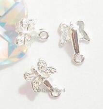 2 S. SILVER Butterfly PENDANT Earring Dangle Bail Clasp