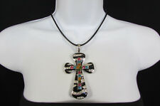 Women Silver Black Zebra Fashion Necklace Large Metal Zebra Big Cross Rhinestone