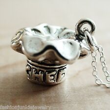 3D Chef Hat Necklace - 925 Sterling Silver Culinary Pastry Food Cook Cooking NEW
