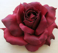 """5"""" Deep  Red Rose Silk Flower Hair Clip,Mothers Day, Wedding,Prom, Party, Dance"""