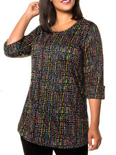 "Ulla Popken ladies tunic top blouse plus size 40/42 (72"" chest) roll sleeve"