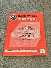 1970 Seattle Supersonics Cleveland Cavaliers Basketball Program Cavs 1st Season