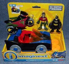IMAGINEXT 2014 DC SUPER FRIENDS BATMOBILE & CYCLE BONUS SET W/ BATMAN & ROBIN