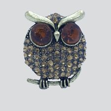 Gold Brown Owl Ladies Fashion Statement Adjustable Stretch Ring Pro Style amber