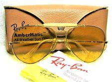 Ray-Ban USA *NOS Vintage B&L Aviator *Ambermatic Bravura General *NEW Sunglasses