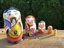 Russian Matryoshka Stacking Nesting Doll Family Hand Painted Hand Crafted 5 Doll
