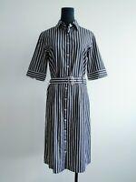Herringbone Sydney Womens Dark Grey White Striped Mid Sleeves Shirt Dress AU 8