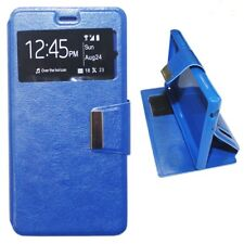 Funda para Samsung Galaxy S4 con tapa Imán de tipo libro ventana dura azul