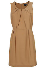 Topshop Taupe Pleat Detail Neck Shift Tuck Dress Tunic UK 8 EURO 36 US 4 BNWT