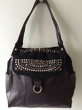 PINKO real leather and suede ladies charcoal black studded underarm shoulder bag