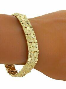 "10k Yellow Gold Solid Nugget Bracelet Adjustable 8""- 8.5"" 12.3mm 30 grams"