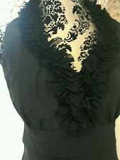 London times size 10 dress,ruffle neck,layered,back zip, stunning on