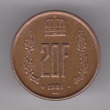 LUXEMBOURG 20 francs 1981-aluminium bronze coin