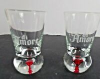 "Di Amore Etched Red Bubble Bottomed Shot Glasses Set of 2 with Box 3 3/4"" Tall"