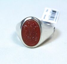 David Yurman Men's Petrvs Bee Coin Ring Curved Carnelian Silver Size 10 $550 New