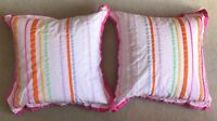Set Of 2 PB TEEN EURO PILLOW Sham Cover Pink Multi Ribbons Stripe Colors