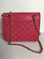 NWT TORY BURCH Fleming Quilted Leather Shoulder CROSSBODY Bag Purse Hot Pink