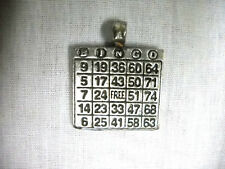 NEW LUCKY BINGO PLAYER CARD GAMER LADY SILVER USA PEWTER PENDANT ADJ NECKLACE