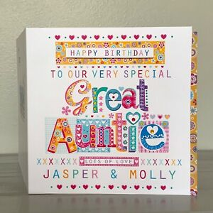 Great Auntie birthday card personalised and very special card Special GREAT AUNT