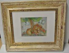 """DEBERDT  FRANCOISE aquerelle """" Le Lionceau """" H 14.5 x L 18.5 cm environ tbé"""