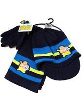 """Bambini Ragazzi """"Moshi Monster"""" Navy Knit Cappello, Sciarpa e Guanti 3 Pezzi Set 7-10 anni"""