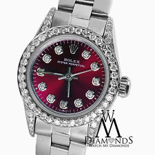 Rolex Oyster Perpetual 26mm Red Grape Index Diamond Stainless Steel Watch