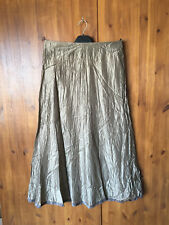 RRP £129 WRAP LONDON 100% SILK MIDI A-LINE SUMMER SKIRT Gold / Brown 8 12 14 NEW