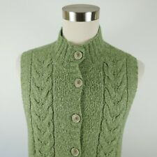 LL Bean Mens Cable Knit Wool Blend Button Down Green Cardigan Sweater Vest XL