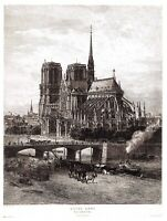 Beautiful A4 Art Print of Notre Dame Cathedral, Paris c1879-90 France