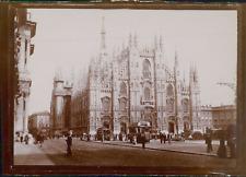 Italie, Milan, La Cathédrale et un tamway, ca.1900, Vintage citrate print Vintag