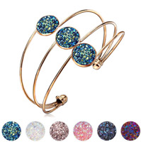 Fashion Crystal Quartz Druzy Bracelet Natural Stone Gold Charm Cuff Bangle Gift