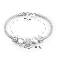 Retro Charm Women 925 Silver Plated Bangle Chain Beads Pendant Bracelet Jewelry