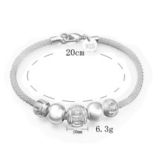 925 Silver Plated Women Charm Chain Crystal Beads Cuff Jewelry Bangle Bracelet