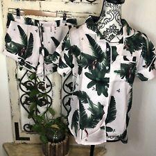 Plush tropical print pajama short set XS