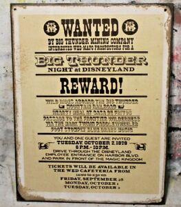 BIG THUNDER MOUNTAIN Handmade Wanted Disney World vintage sign