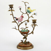 PORCELAIN IN BRONZE ORMOLU SONG BIRDS & BABIES CANDLE STAND CANDLESTICK HOLDER