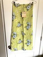 NEW Tommy Bahama MAXI Long SKIRT Sz 8 Silk Linen Floral Green Blue Hawaii Slit!