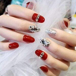 Oval False Nails Red Acrylic Finish with Rhinestones - NEW - FREE DELIVERY!!