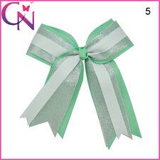 6 inch Girls Large Cheerleader Silver Organza Hair Cheer Bow Alligator Clip